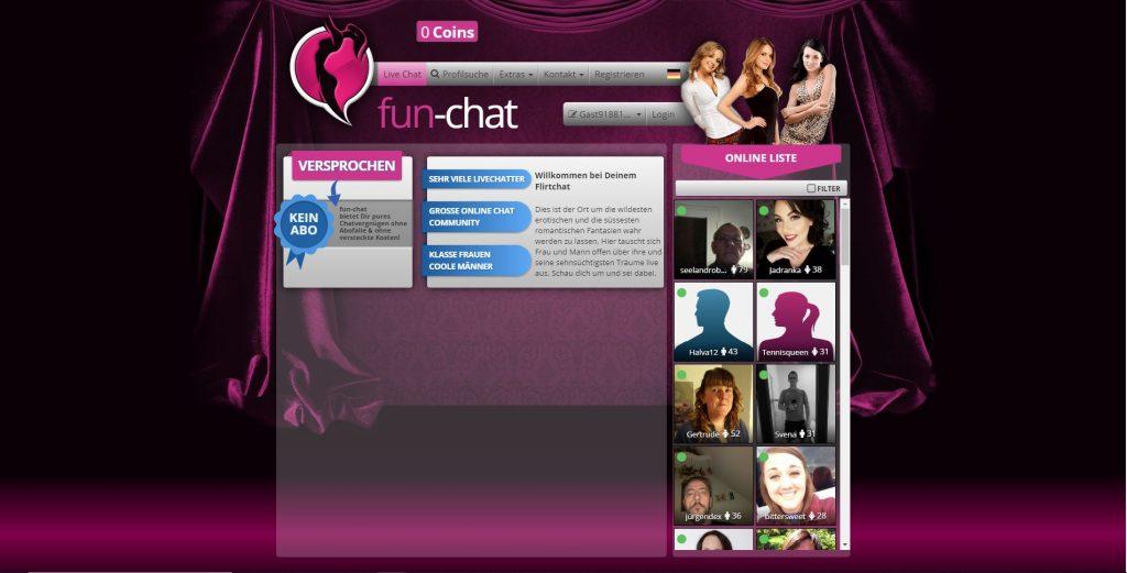 Anmeldeseite von Fun-Chat